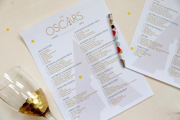 2016 Oscar Ballot | Popcorn & Chocolate