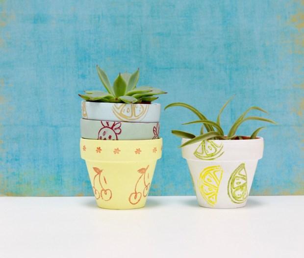Hand stamped succulent pots | Popcorn & Chocolate