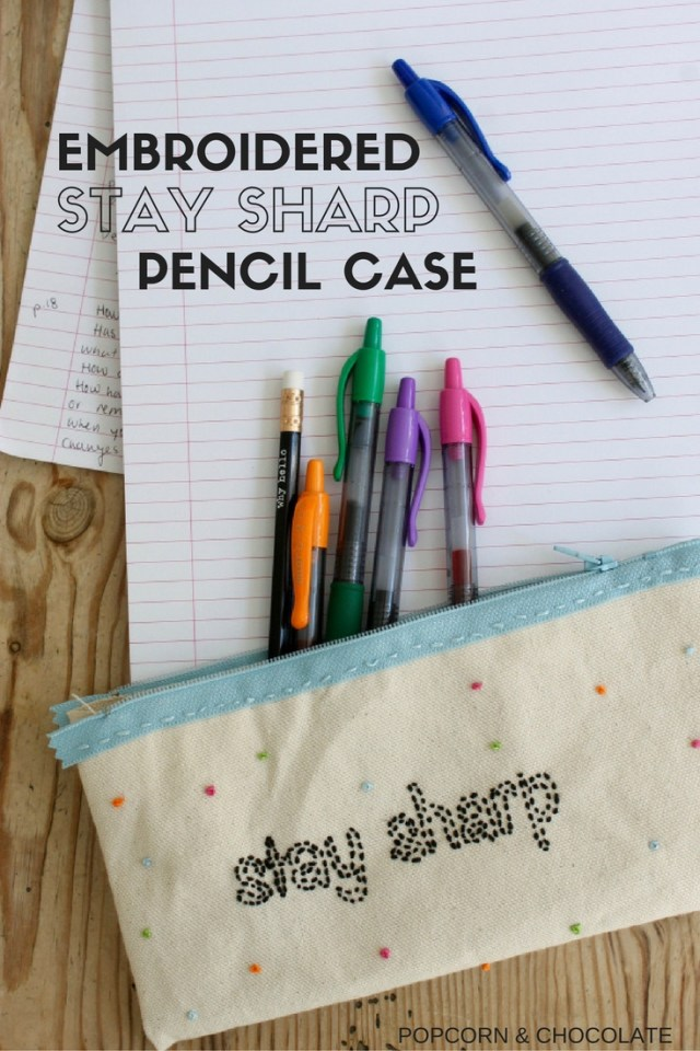 Embroidered stay sharp pencil case   Popcorn & Chocolate