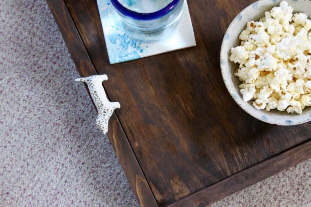 Wooden Tray with Door knob handles | Popcorn & Chocolate