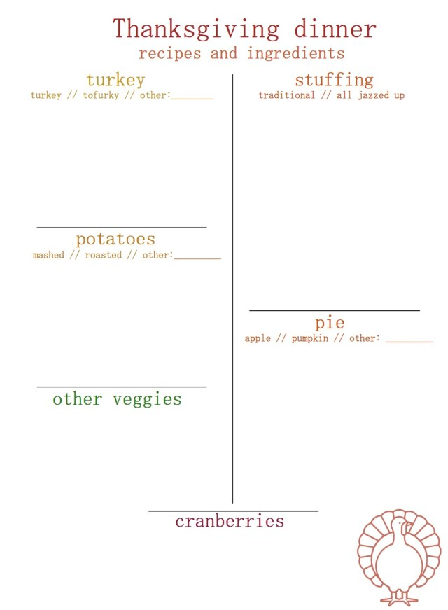 Thanksgiving Grocery List Printable | Popcorn & Chocolate