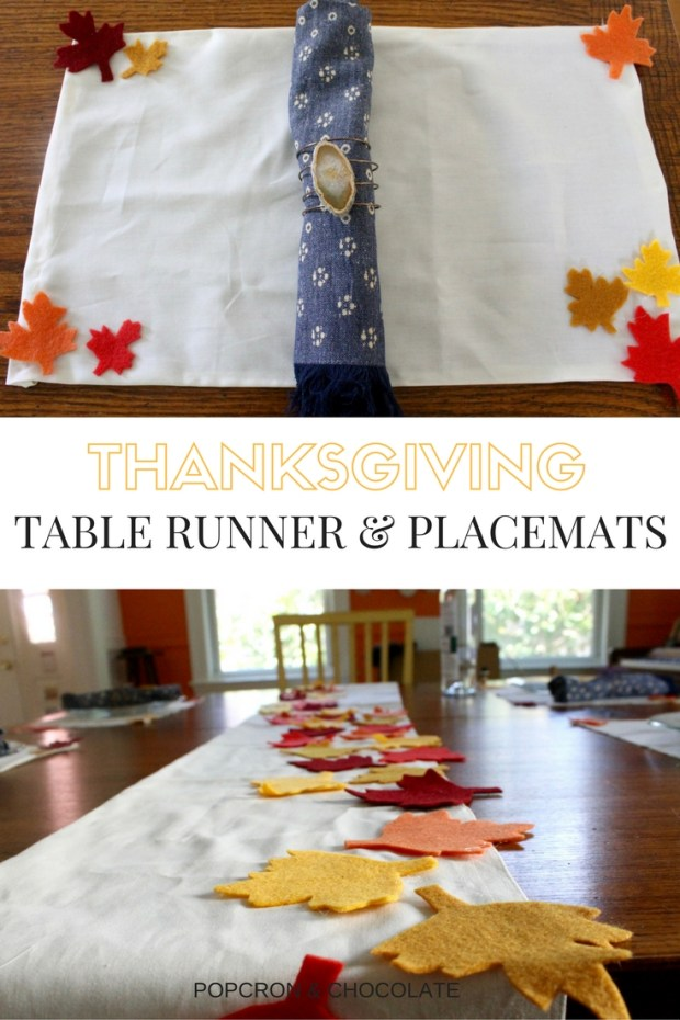 DIY Thanksgiving no sew table runner and placemats