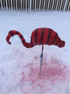 Candy cane striped flamingo