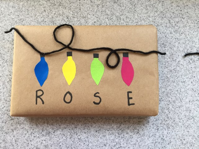 DIY Christmas lights wrapping paper
