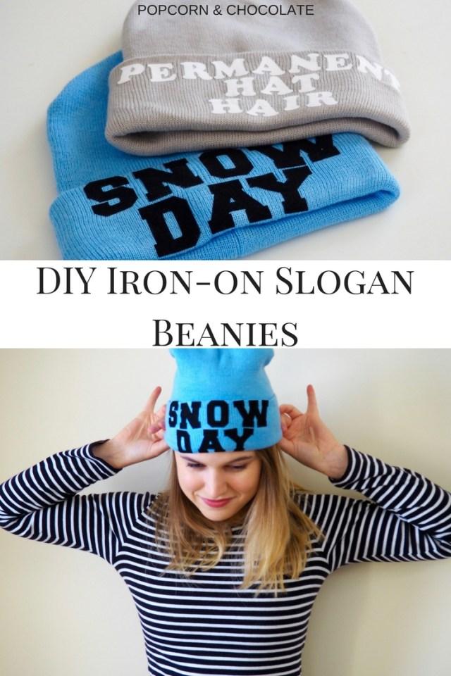 DIY Slogan beanies | Popcorn and Chocolate