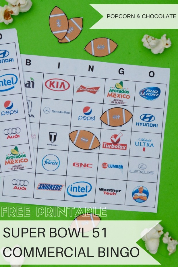 Printable Super Bowl 51 Commercial Bingo Boards | Popcorn and Chocolate