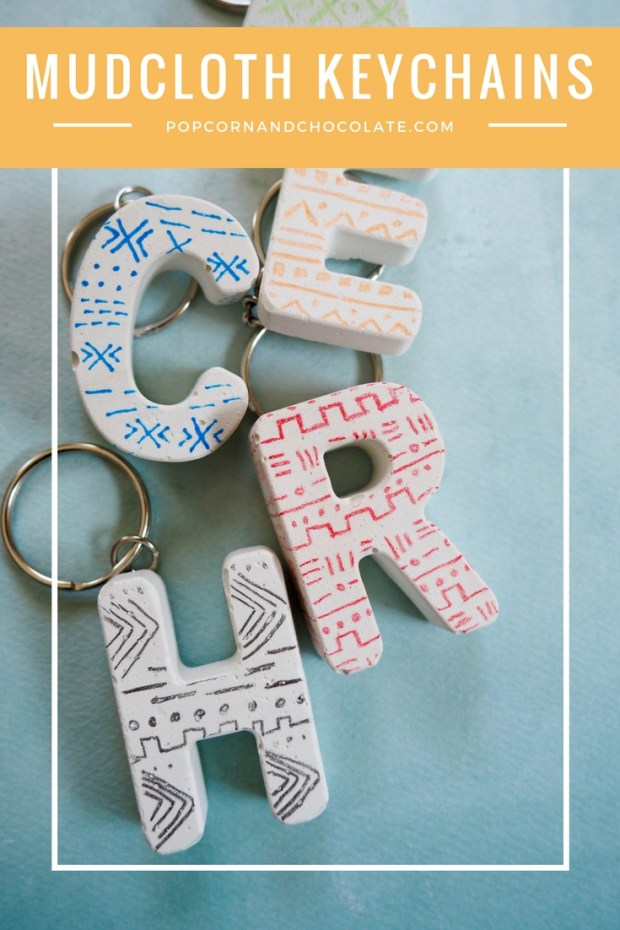 DIY Mudcloth Inspired Keychains Made From Plaster   Popcorn and Chocolate