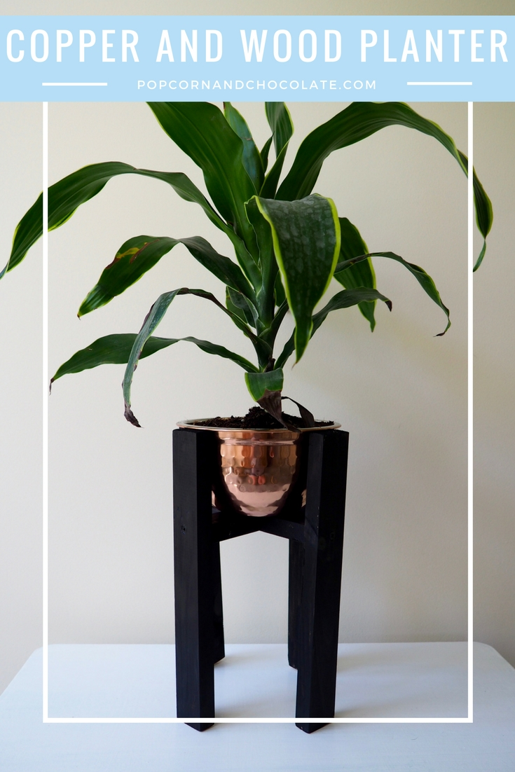 DIY mid-century inspired Copper and Wood House Plant | Popcorn and Chocolate