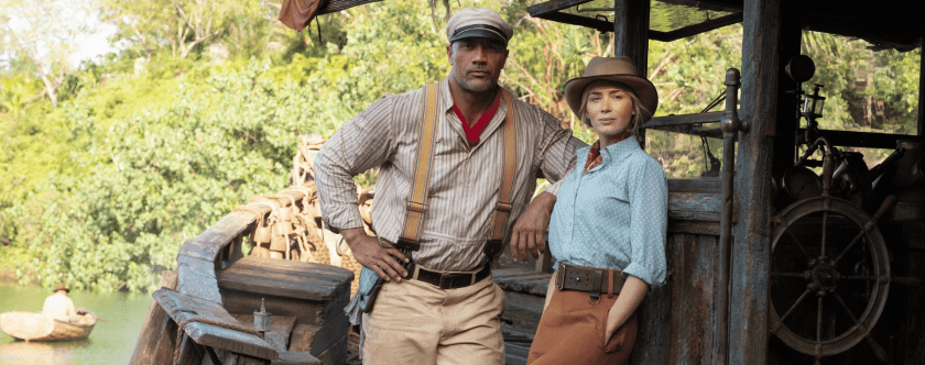 Dwayne Johnson and Emily Blunt in promotional photo for Disney's Jungle Cruise. Photo by Frank Masi. © Disney Enterprises Inc., All Rights Reserved.