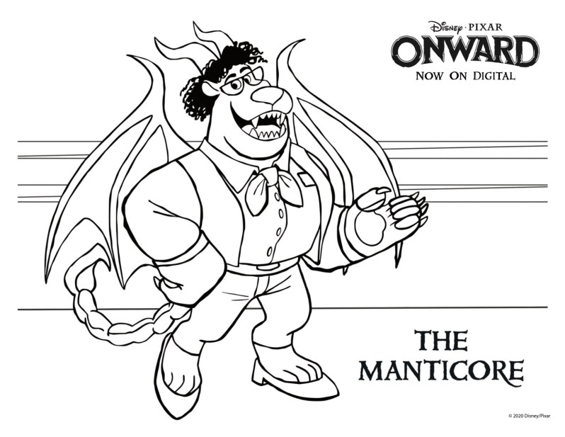 Pixar Onward Coloring Pages - The Manticore