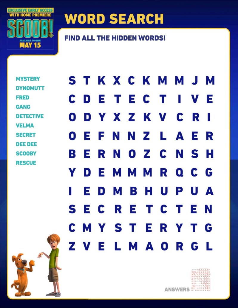 SCOOB Activity Sheets Word Search 2