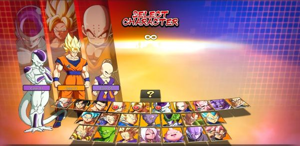 Dragon Ball Fighterz - selection personnages