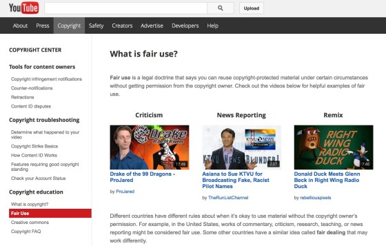 YouTube's fair use page