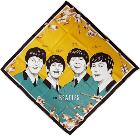 Beatles-Themed Silk Handkerchief - Green and Gold (1964)