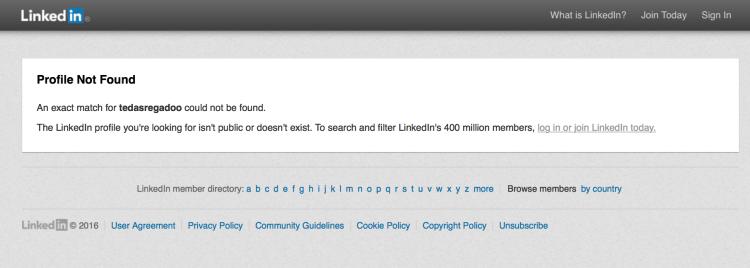 LinkedIn User Not Found