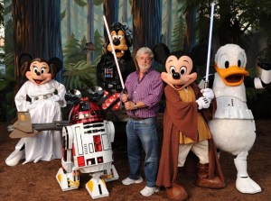 "Filmmaker George Lucas meets ""Star Wars""-inspired Disney characters at Walt Disney World Resort in Florida"