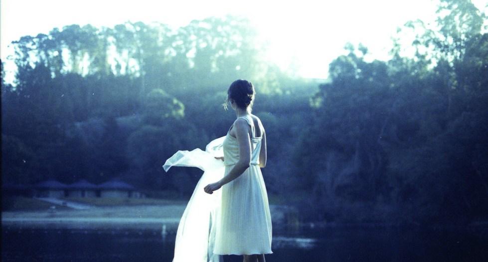Anna Ash in white dress