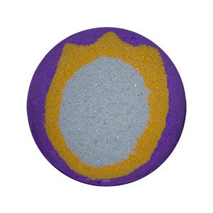 Round bath bomb done in deep purple. On the top is an oval mirror symbol. It is a silver mirror with a gold, three pronged frame. The silver and gold are both glittery.