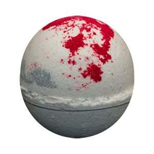Round bath bomb done in mostly white with gray 'smoke' markings. The top is spattered with red, meant to resemble blood on the snow.