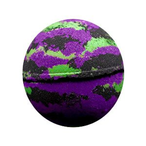 Round black bath bomb with swirls of bright chartreuse green and vivid purple in an alternating pattern