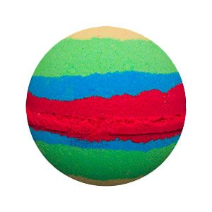 Round bath bomb. There are 7 bands of color in varying widths. The order is pale yellow, green, blue, red, blue, green, yellow. It is meant to resemble Mulan's dress.