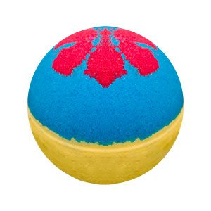 Round bath bomb. The top half is bright blue, the bottom is yellow. Five tear shaped red marks are on the top, resembling the markings on Snow White's dress.