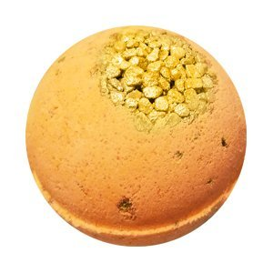 Medium round bath bomb made entirely of an orange color. The top has chunky sea salt dusted in shimmery gold powder embedded in.