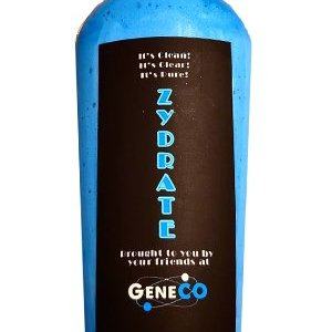 "Bottle of thick, bright blue body wash. The label is black with ""ZYDRATE"" running vertically down the center in bright blue. Above in gray letters is ""It's Clean! It's Clear! It's Pure!"" and at the very bottom it says ""Brought to you by your friends at GeneCO"" with the GeneCO logo."