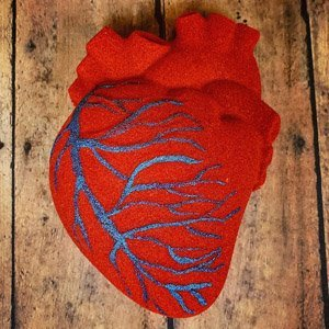 Red anatomically correct heart bath bomb. Veins run through it, painted blue.
