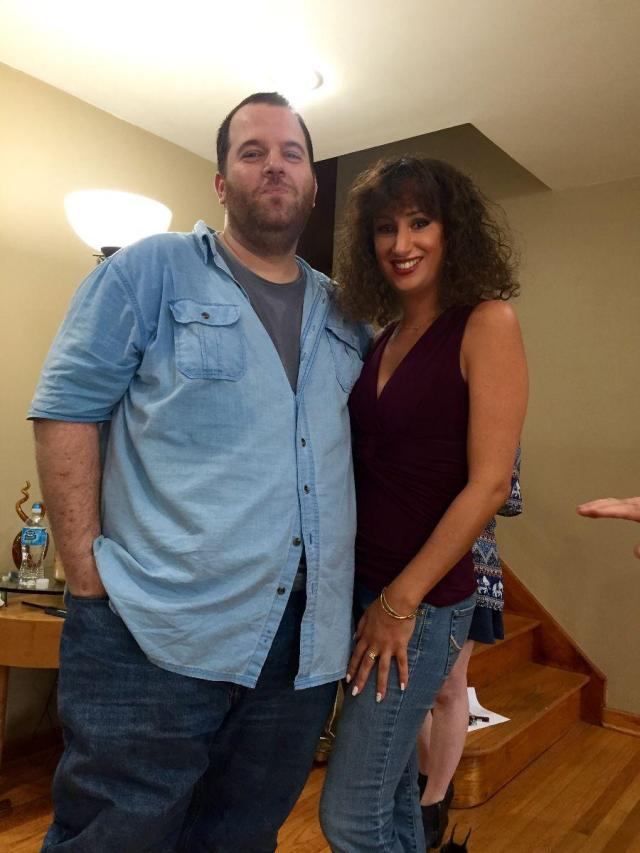 Laura Madsen and Larry Rosen on the set of Death At A Barbecue...