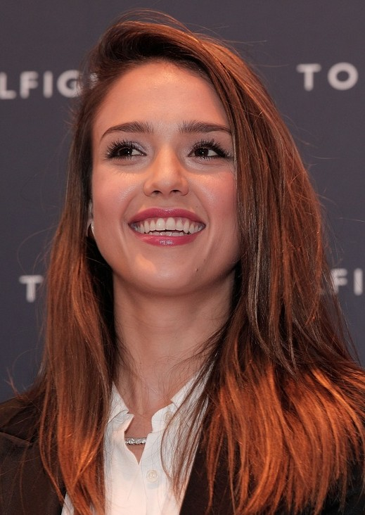 Jessica Alba Hairstyles Red Long Straight Hairstyle