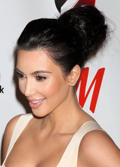 Kim Kardashian Long Hairstyles High Voluminous Updo