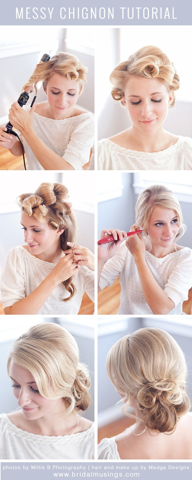 messy bun hairstyle tutorial: updos for prom - popular haircuts