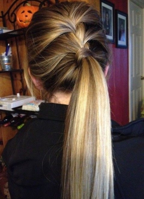 Cute Everyday Hairstyles: Side Lace Braid Ponytail Hairstyle