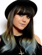 Lilah Parsons Funky Brunette to Dark Blue Ombre Hair with Blunt Bangs