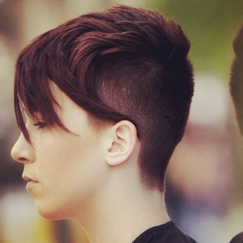 Pixie Cut on Brunette with Buzzed Sides and Back