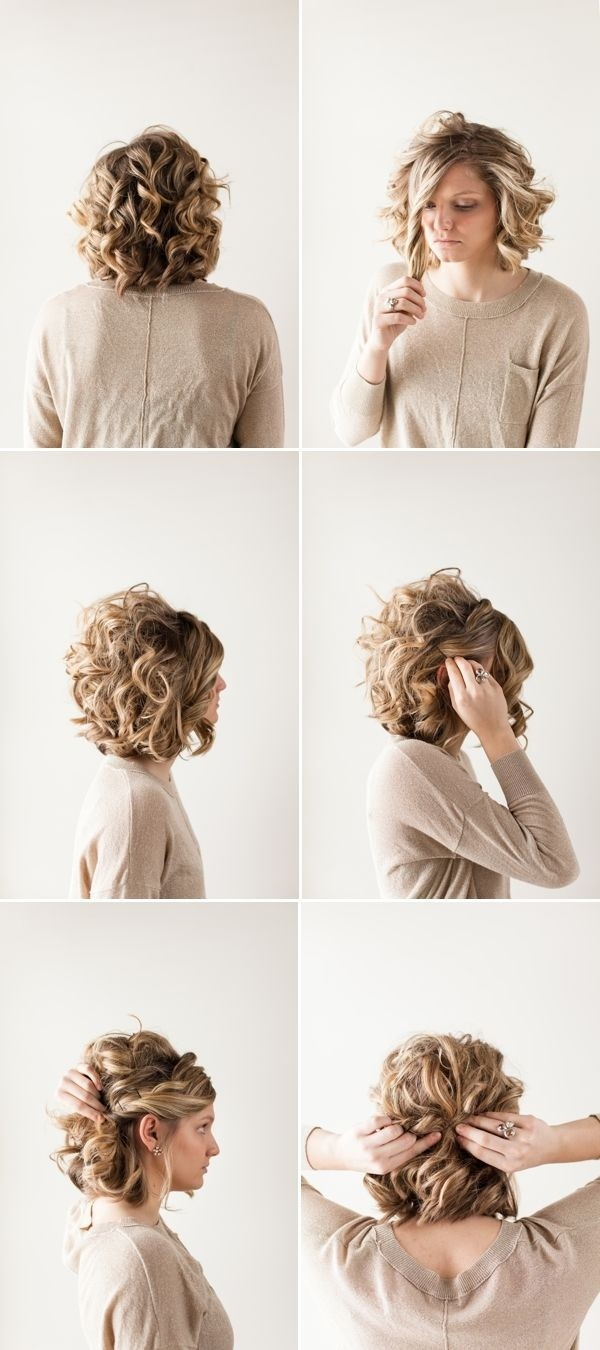 pretty updo hairstyle for short curly hair prom hairstyle ideas