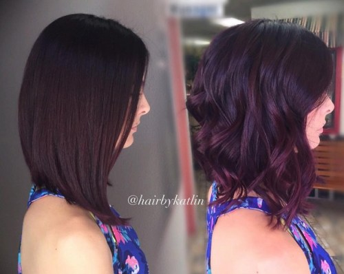 Beachy wavy angled bob hairstyle for shoulder length hair
