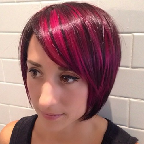 Highlighted Angled Bob Hairstyle for women