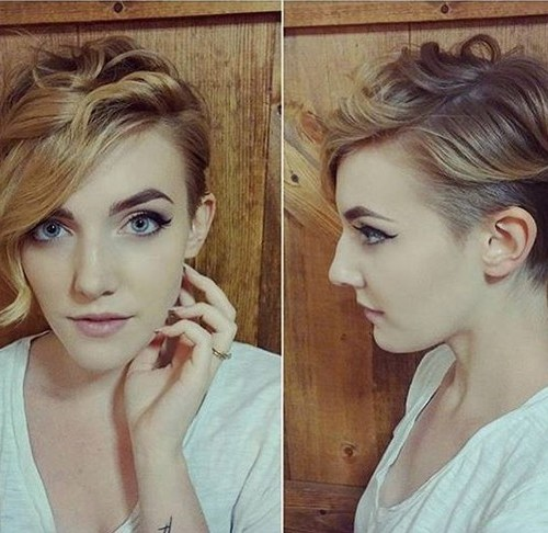 Pretty Shaved Wavy Cut - Ombre Pixie Hairstyle with Side Long Bangs