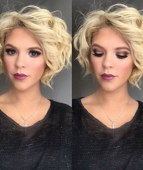 Blonde Bob Hairstyle with Curls - Short Haircuts for Heart Face Shape