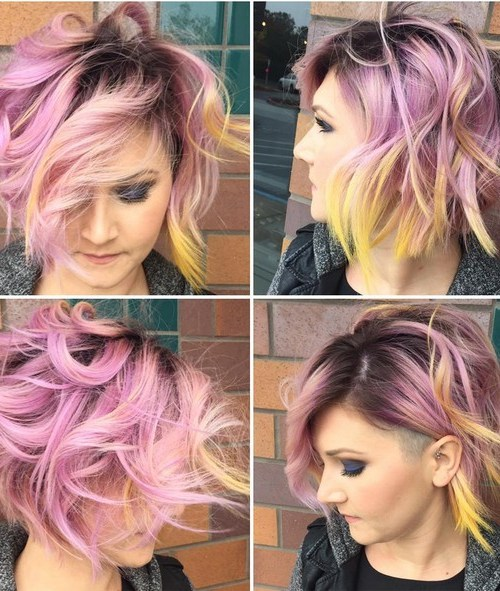 Textured, Shaved Bob Haircut - Balayage, Ombre Hairstyles for Short Hair