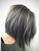 Short Straight Bob Cut - Balayage Hairstyle - Light Blue Denim Silver
