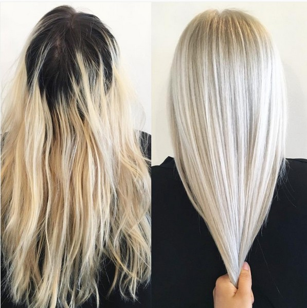 Medium Straight Haircut - Hair Color Ideas with Platinum Blonde Hair