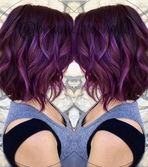 Layered, Curly Lob Hairstyles - Medium Brown and Plums Color