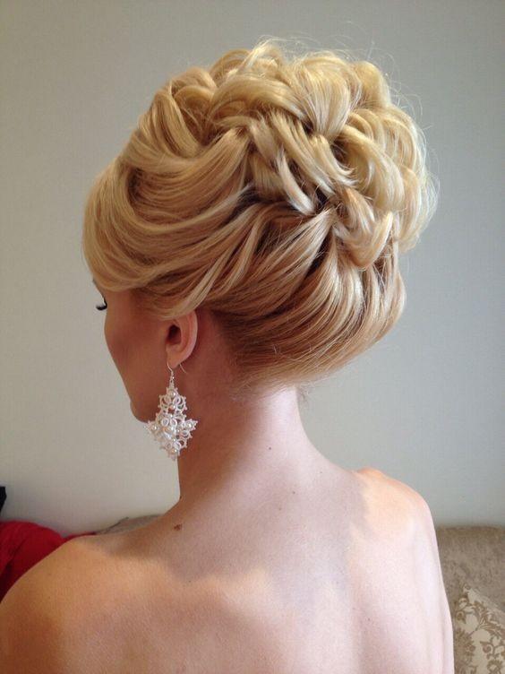 braided blonde halo bun wedding updo hair styles for medium short hair
