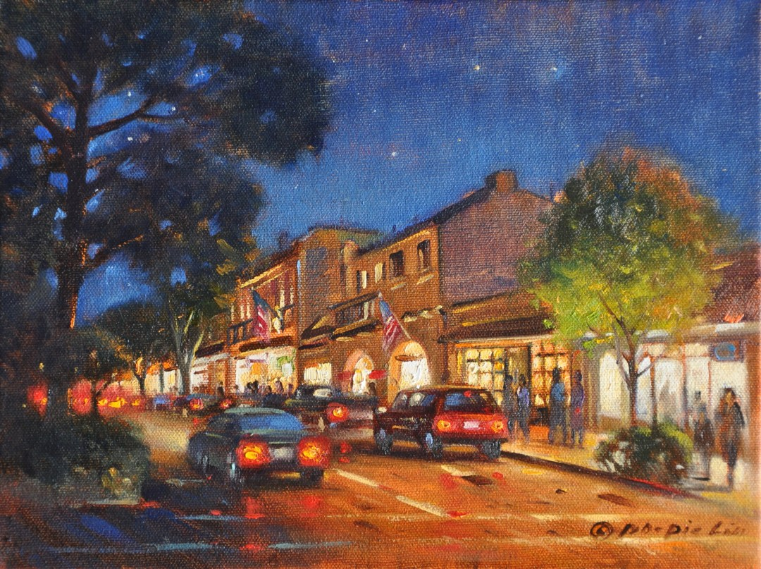Night Life in Carmel, 9x12 (SOLD)