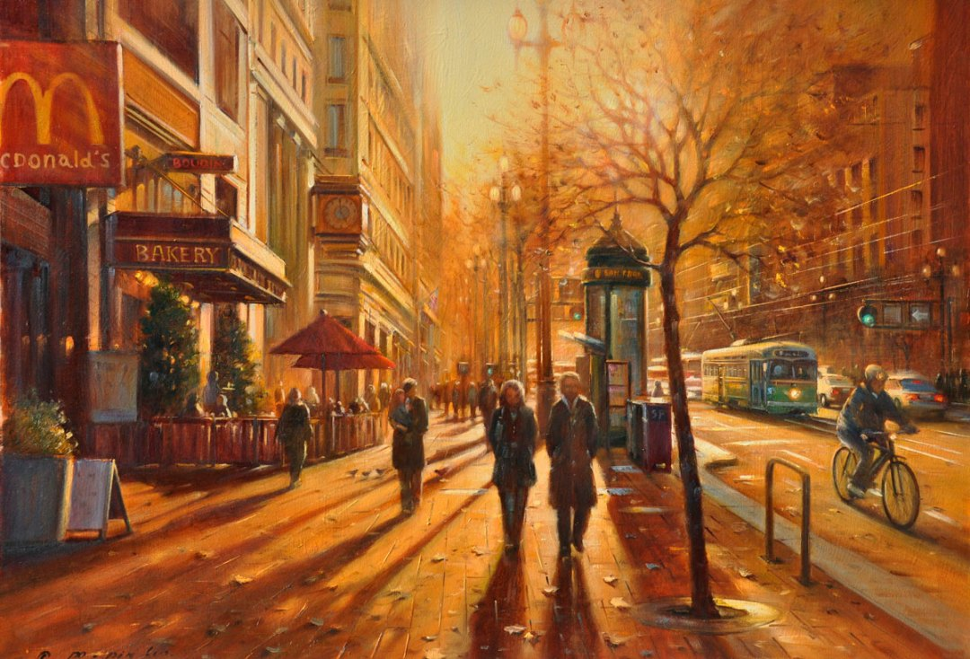 Evening Lights On Market (SF), 30x40