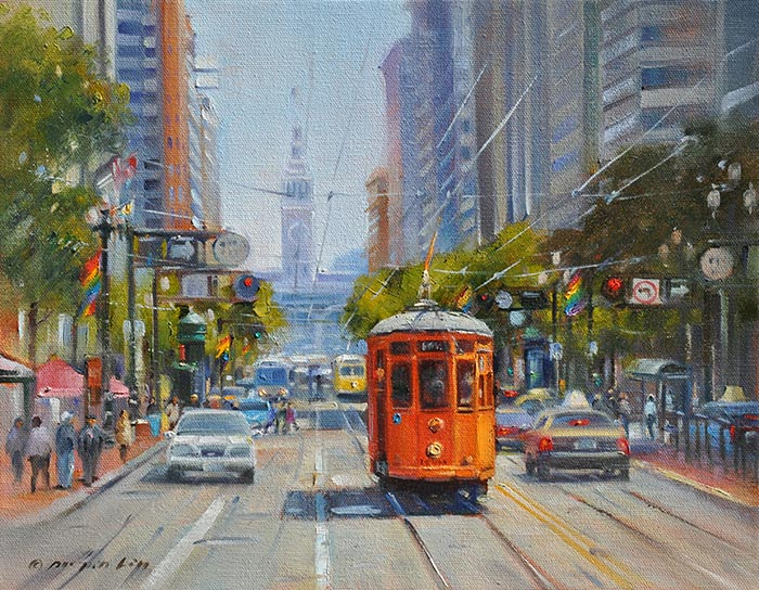 Market Street Trolley, 11x14 (SOLD)