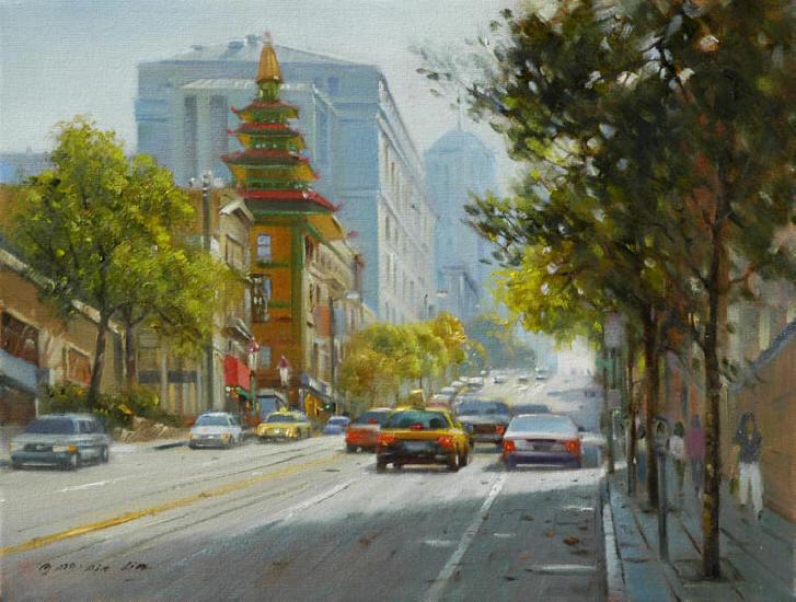 Sunlit Street (SF), 12x16